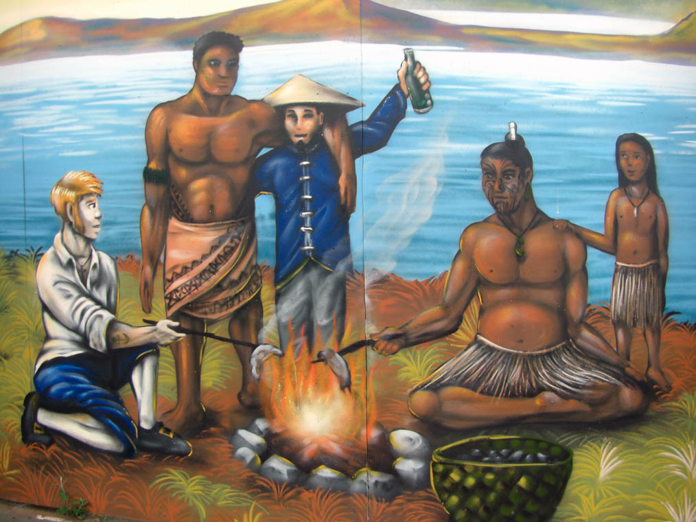 detail of historic Auckland heritage mural in Ponsonby