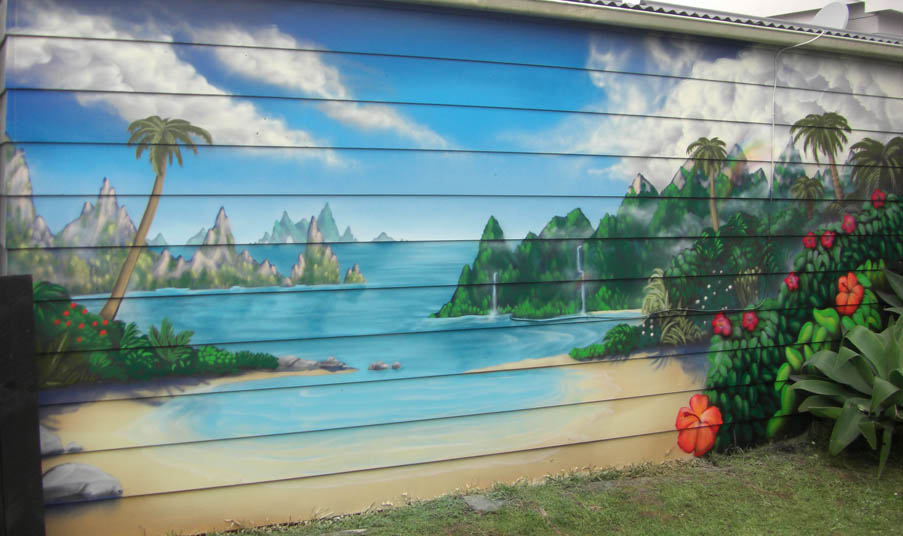Backyard beach nz murals and graffiti art for Exterior wall mural ideas