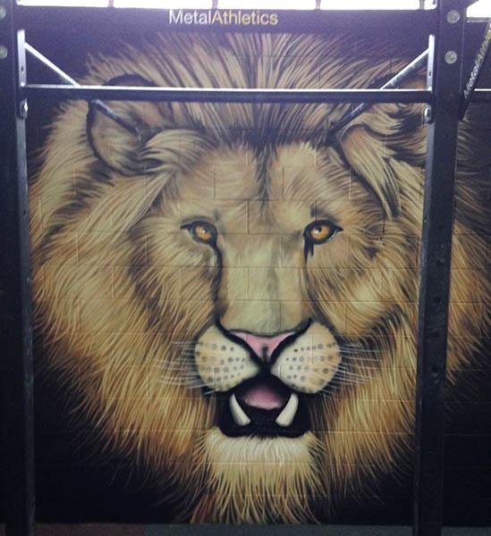 gym mural Lion