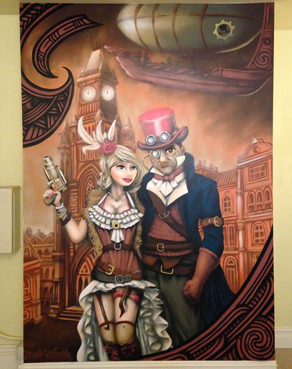 steampunk mural