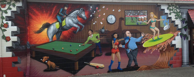 A Humourous Sports Bar Outside Wall Mural